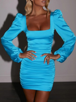 Blue Square Neck Bodycon Dress Puff Sleeves Pullover