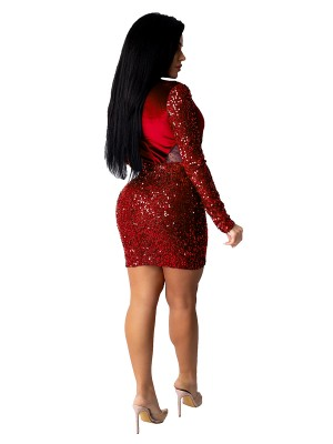 Red Velvet Mesh Splice Mini Bodycon Dress Casual Comfort