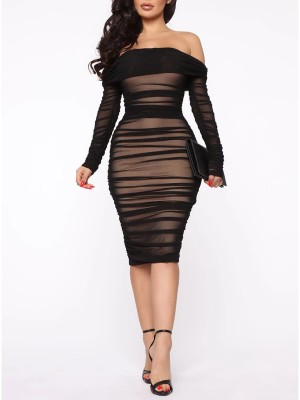 Black Bodycon Dress Off Shoulder Sheer Mesh For Beauty