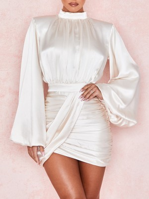 White Mini Dress Ruched Zipper Irregular Hem Quality Assured