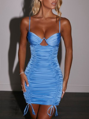 Blue Sling Wired Hollow Out Bodycon Dress Stretch