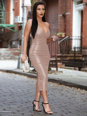 Apricot Spaghetti Strap Solid Color Bodycon Dress Female Elegance