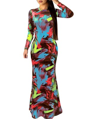 Honey Blue Mock Neck Zipper Maxi Evening Dress Ladies Clothing