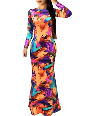 Faddish Orange Graffiti Print Evening Dress Zipper Form Fit