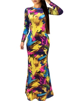 Lightweight Yellow Hollow Out Back Graffiti Evening Dress Comfort