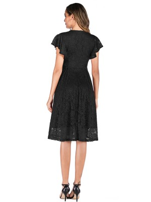 Spectacular Black Ruffle Lace Dress Plain Back Zipper Leisure Wear