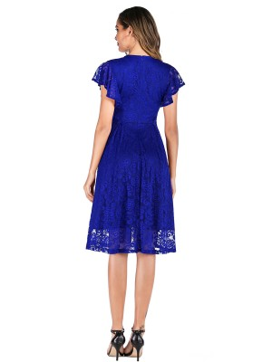 Versatile Fit Royal Blue V Collar Evening Dress Lace High Waist Chic Trend
