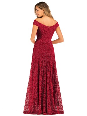 Exquisite Wine Red Lace Off Shoulder Evening Dress Zipper For Beauty