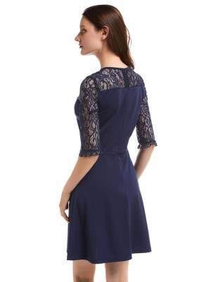 Loose Royal Blue Zip Back Mini Patchwork Evening Dress Ladies Elegance