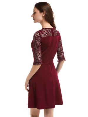 Bewitching Wine Red Round Collar Lace A-Line Mini Dress Natural Fit