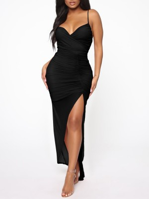 Functional Black Mesh Backless Evening Dress Slit V-Neck Breath