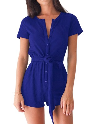 Blue Jumpsuit Mini Length Short Sleeves Tie