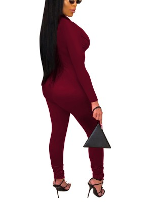 Functional Wine Red Long Sleeve Ankle Length Jumpsuit Feminine Grace
