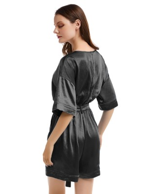 Noticeable Black Solid Color Jumpsuit Drop Shoulder For Traveling
