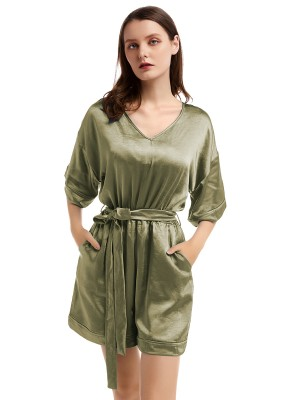 Staple Army Green V Collar Jumsuit Solid Color Womens Fashion