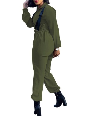 Eye Catcher  Army Green Jumpsuit Long Sleeve Belt Solid Color