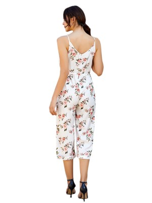 Loose Fit White Sling Waist Tie V Neck Printed Jumpsuit Slim Fit
