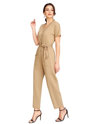 Summary Apricot V Collar Jumpsuit Short Sleeve Pocket Romance Time