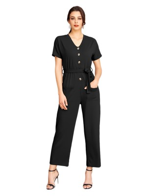 Fitted Black Button Wide Leg Jumpsuit Short Sleeves Woman Clothing
