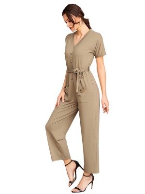 Enchanting Army Green Knot Waist V Neck Romper With Pocket For Ladies