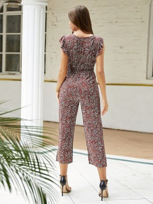 Gracious Red Cap Sleeve Flower Paint Jumpsuit Versatile Item