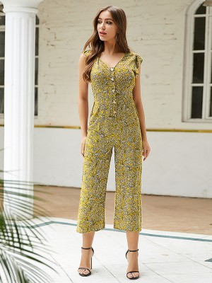 Simplicity Yellow Jumpsuit Floral Print Button Front For Stunner