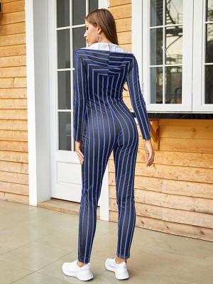 Stretchy Blue Zipper Jumpsuit With Pocket Stripes For Camping
