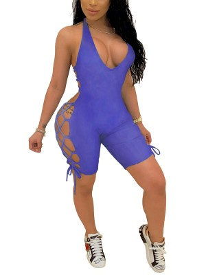 Leisure Dark Blue Hollow Out Romper Thigh Length Women's Essentials