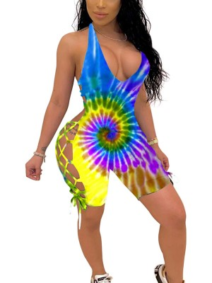 Contouring Sensation Cross-Criss Tie Dye Romper Backless Natural Fit