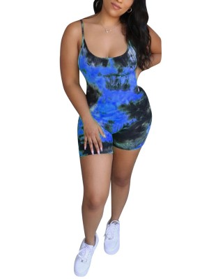 Liberty Blue Sling Backless Tie-Dye Print Romper Casual Comfort