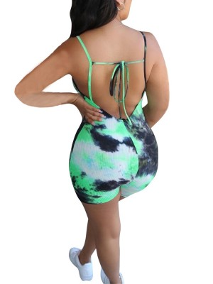 Extra Sexy Green U Neck Jumpsuit Open Back Tie-Dyed For Women