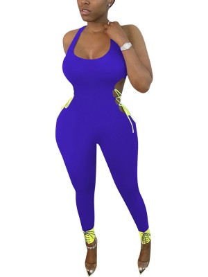 Stunning Blue Colorblock Jumpsuit Strap Cut Out Form Fitting