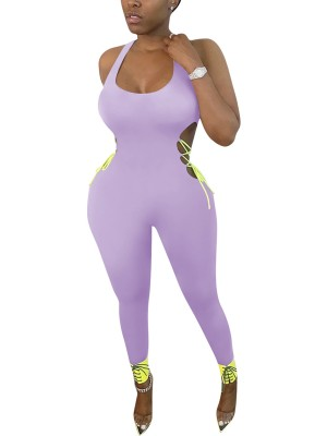 Eye-Catching Purple Hollow Out Romper Plunge Collar Cheap Online
