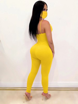Luscious Curvy Yellow Ankle Length Hollow Jumpsuit With Mask