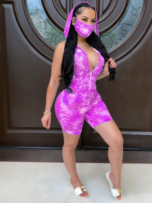 Particularly Purple Sleeveless Rompers V-Neck Hooded Neck Soft