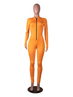 Feminine Curve Orange Jumpsuit Full Length Tight Long Sleeve Vacation Time
