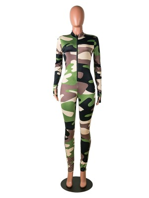 Wholesale Camouflage Paint Thumbhole Jumpsuit Zipper Leisure Wear
