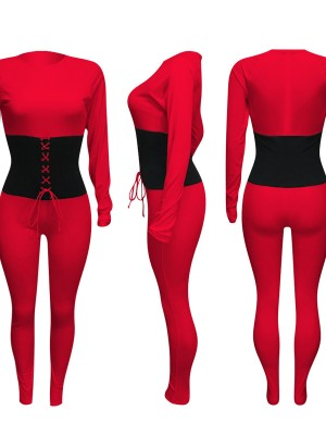 Red Jumpsuit Ankle Length Fitted Waist Tie At Great Prices‎