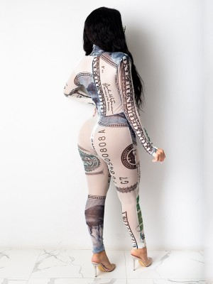 White Long Sleeve Money Print Tight Jumpsuit Regular Fit