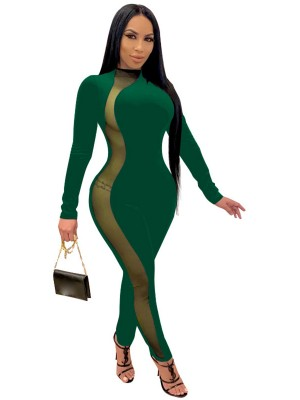 Green Large Size Jumpsuit Side Mesh Mock Neck Wholesale