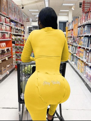 Yellow Full-Length Tight Jumpsuit With Hip Patch For Women