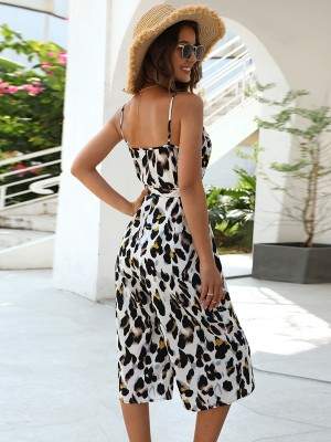 Wonderful Leopard Print Rompers Backless Sling Online