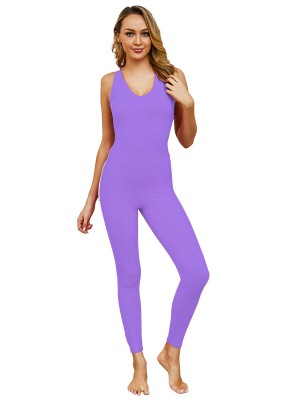 Dainty Purple U Neck Lace-Up Open Back Jumpsuit Outfits