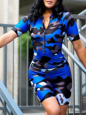 Pretty Blue Camouflage Printed Zip Sports Romper Women's Fashion