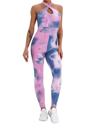 Purple Sleeveless Tie-Dyed High Waist Jumpsuit Woman