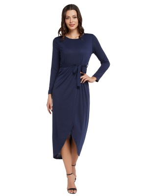 Faddish Purplish Blue Slit Hem Maxi Dress Tie Waist Plain