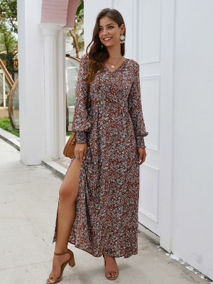 Leisure Wine Red Button Full Sleeve Side Slit Maxi Dress For Girls