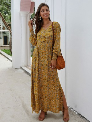 Sheerly Yellow Bishop Sleeve Floral Print Maxi Dress Outdoor