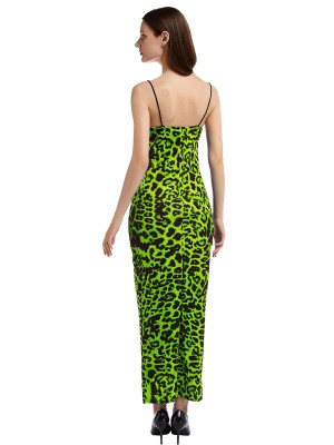 Exquisite Green Backless Maxi Dress Leopard Pattern For Shopping