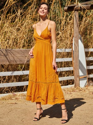 Shimmer Yellow Sling Maxi Dress Plunge Collar Fashion